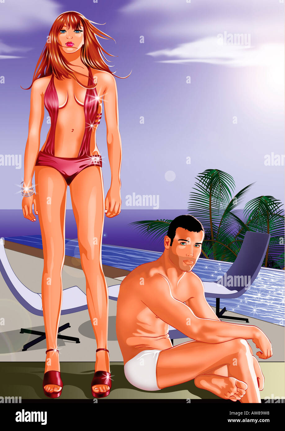 Young couple on beach in swim suits - Stock Image