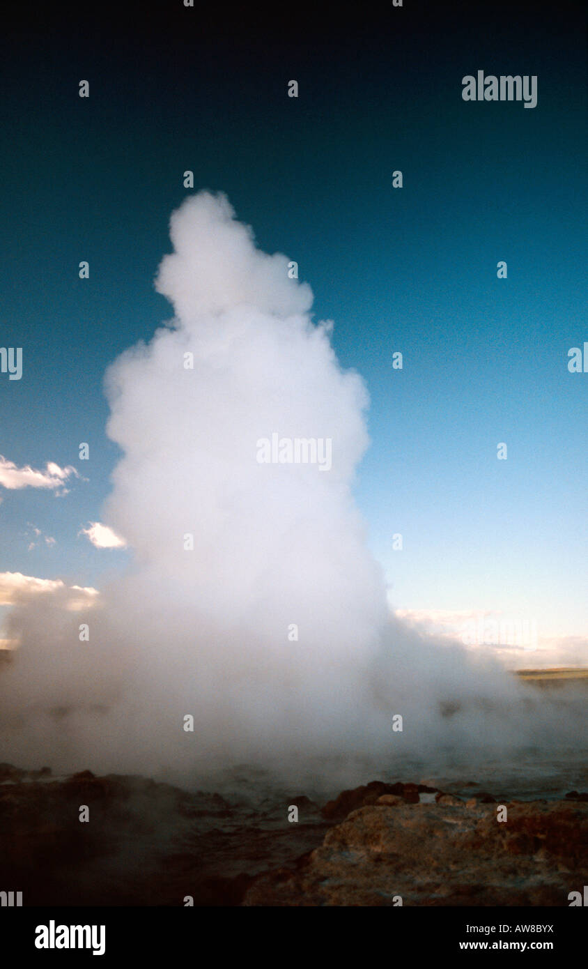 PICTURE CREDIT DOUG BLANE Geyser spouting spring is the world s largest geothermal geyser near Gullfoss waterfall Stock Photo