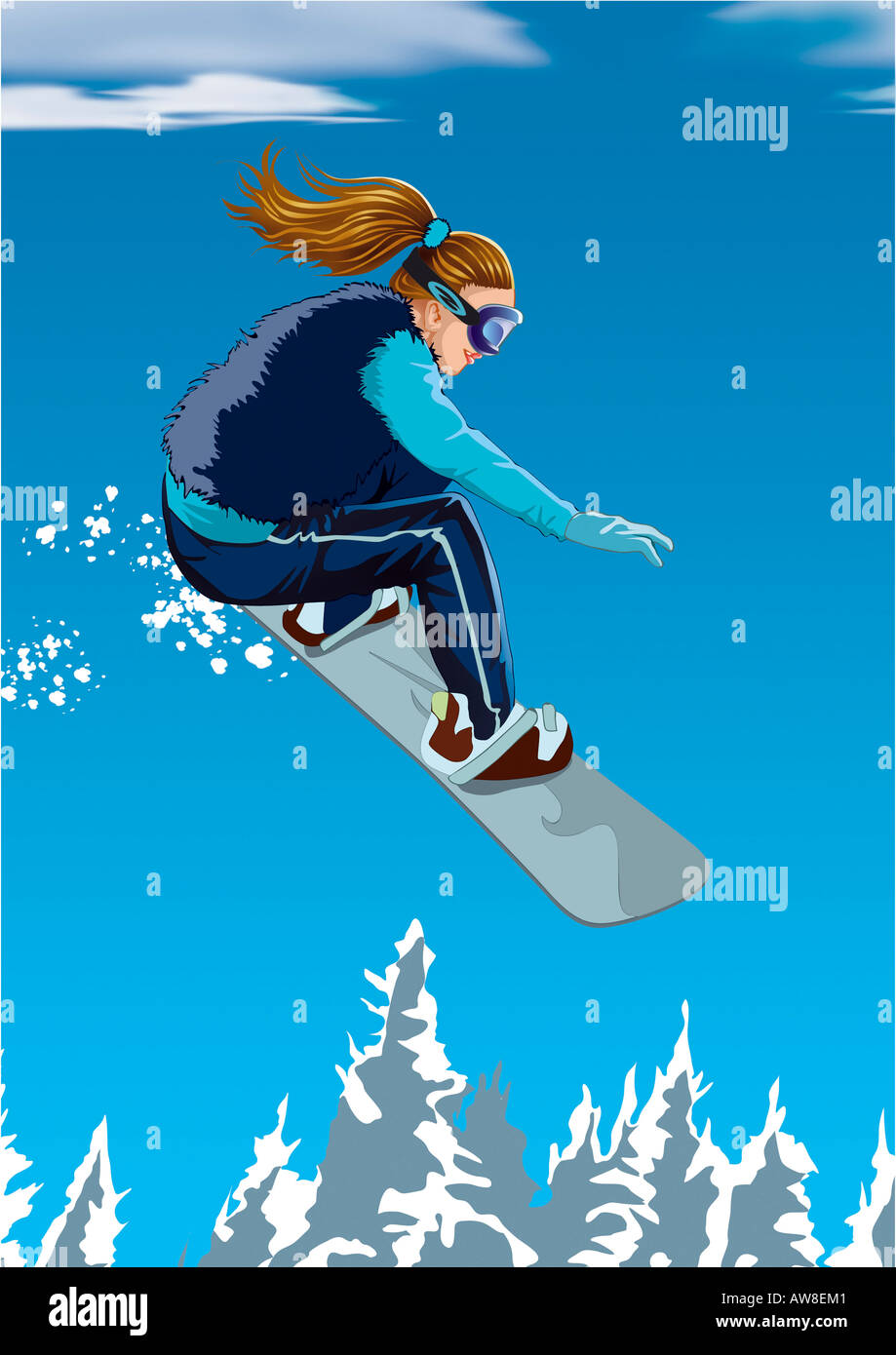 Woman in the air on a snowboard - Stock Image