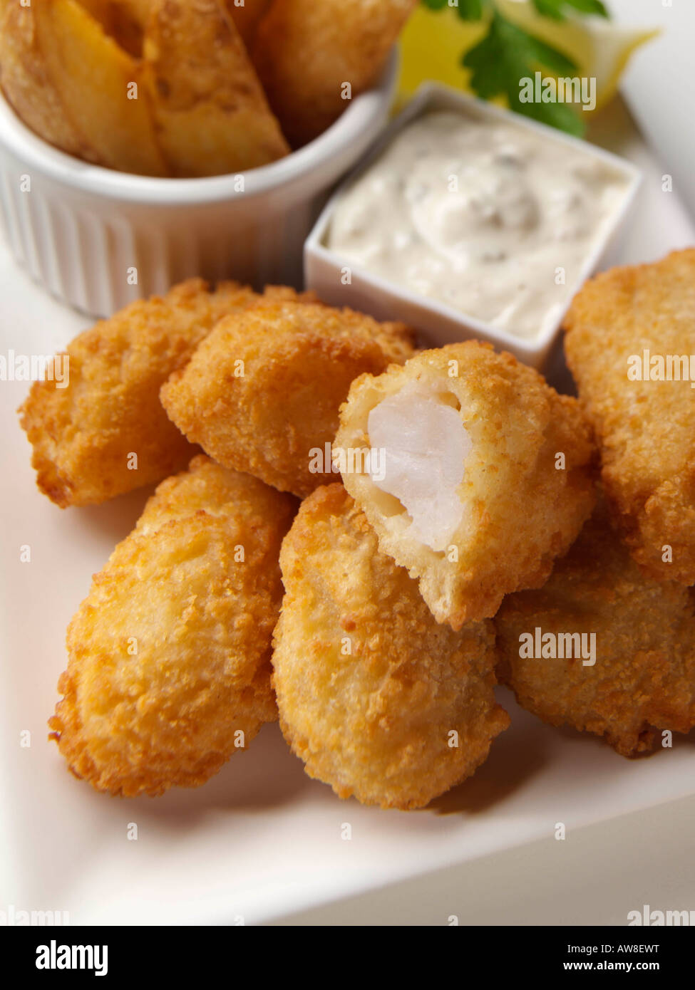 Scampi and fries kids editorial food Stock Photo