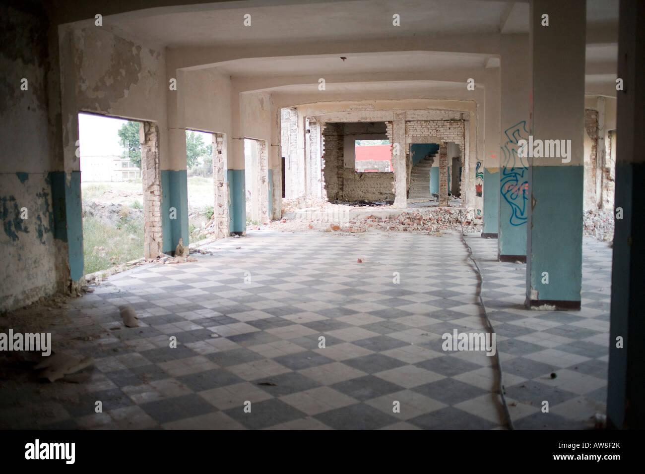 interior of a building in disrepair - Stock Image
