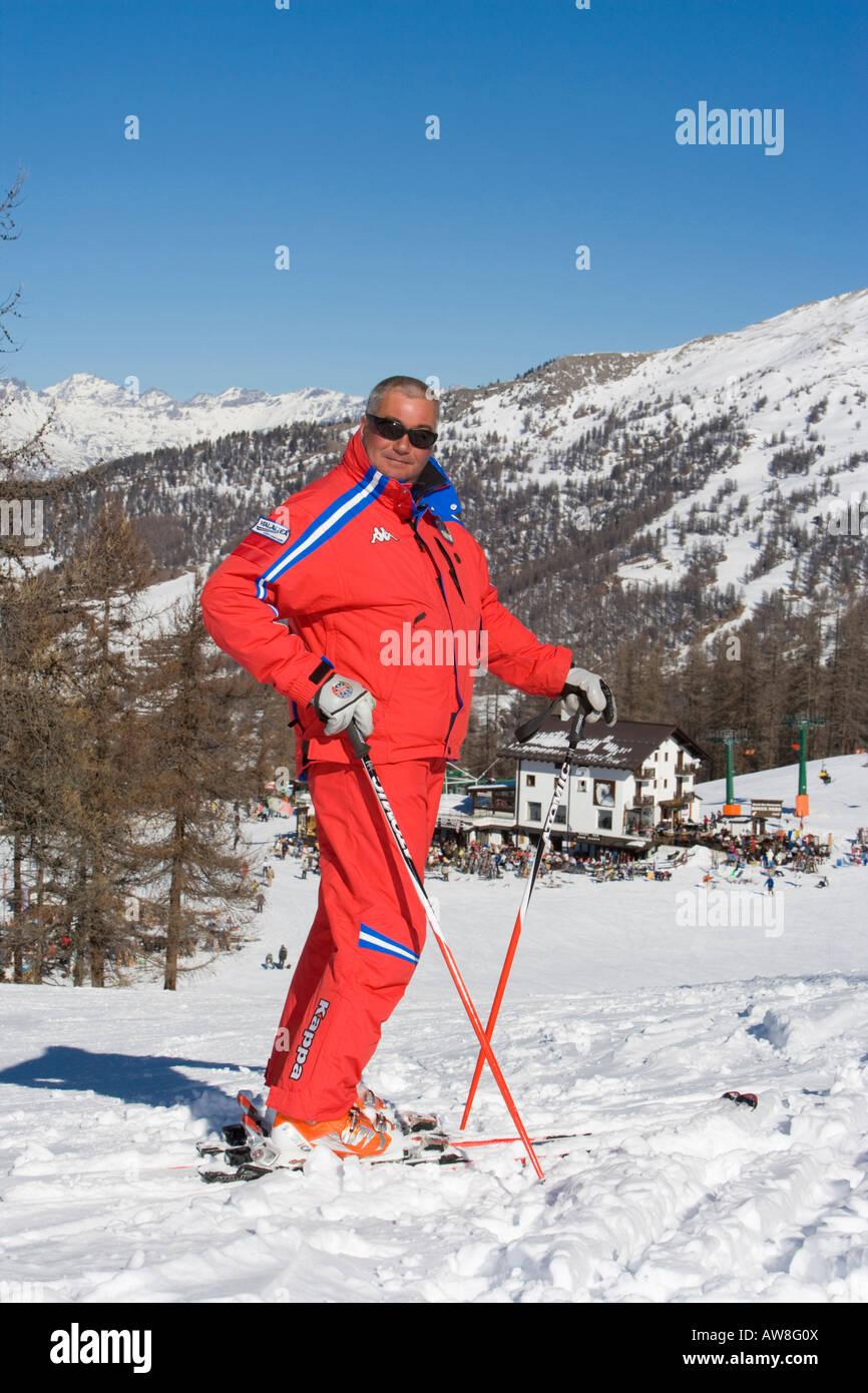 Ski instructor Via Lattea Sauze d Oulx Piemonte Italy - Stock Image
