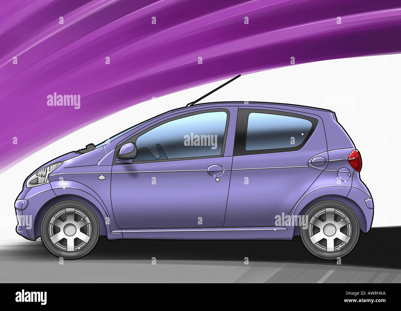 purple small sized four door car with purple and white background