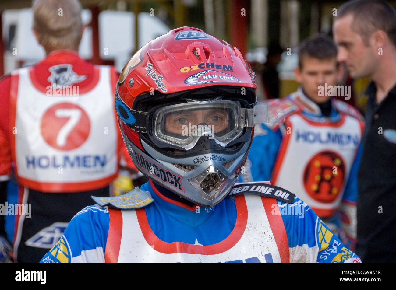 Speedway star American Greg Hancock geared up before the start of a race - Stock Image