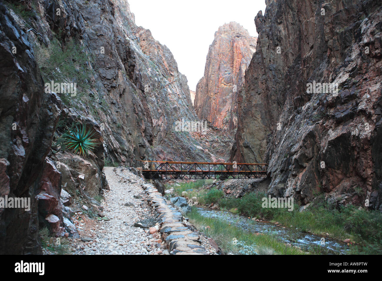 NORTH KAIBAB TRAIL IN THE INNER GORGE KNOWN AS THE BOX ABOVE PHANTOM RANCH IN GRAND CANYON NATIONAL PARK ARIZONA Stock Photo