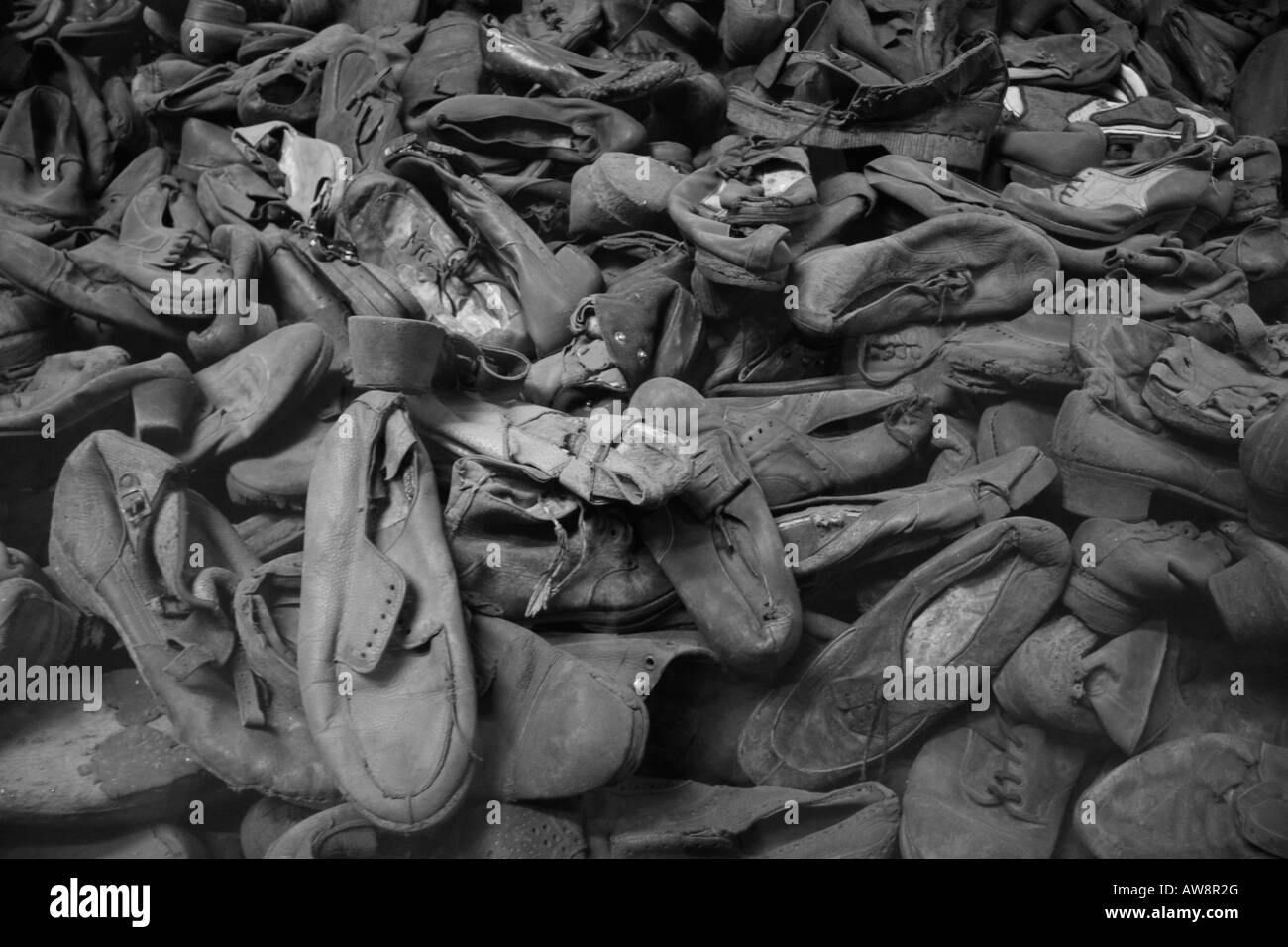 A collection of shoes taken from prisoners at the former Nazi concentration camp at Auschwitz Birkenau, Oswiecim, - Stock Image