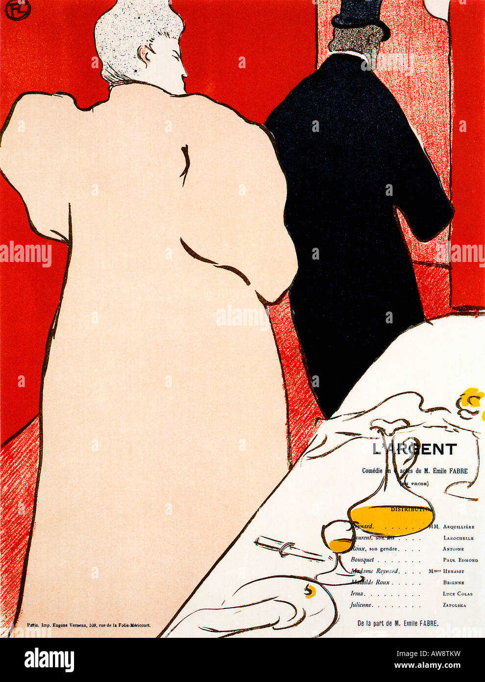 L Argent 1895 Art Nouveau programme cover by Toulouse Lautrec for the Emil Fabre play with Henriot and Arquilliere - Stock Image