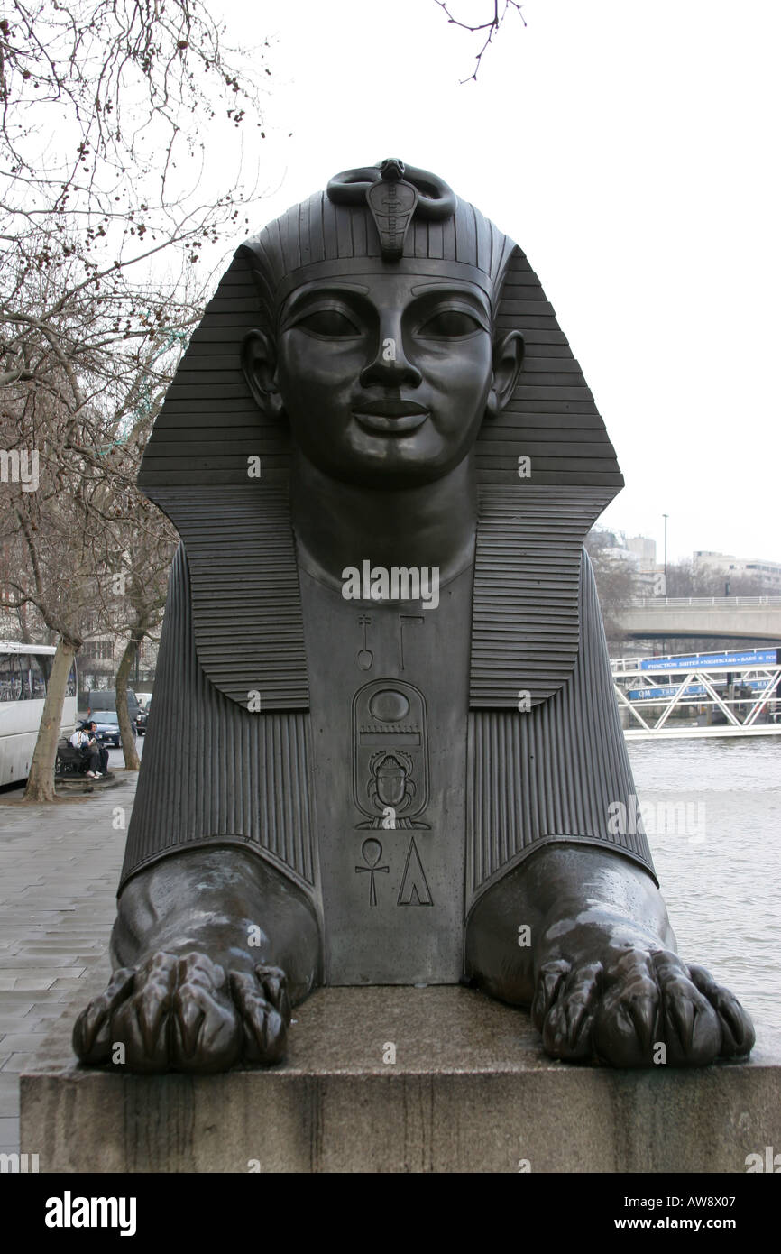 Sphinx on london embankment by the thames beneath cleopatras needle - Stock Image
