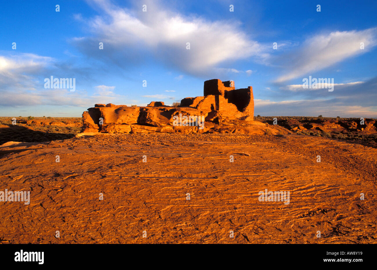Morning light on Wukoki Ruin Anasazi Wupatki National Monument Arizona - Stock Image