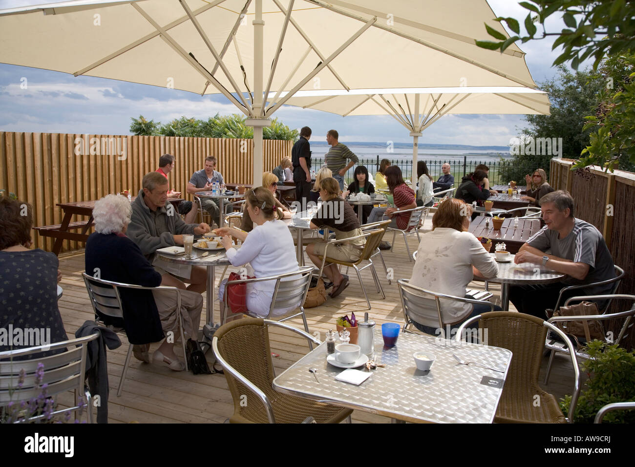 The Grove cafe bistro restaurant terrace overlooking sea front of the Thames estuary Lee Leigh on Sea Essex England - Stock Image
