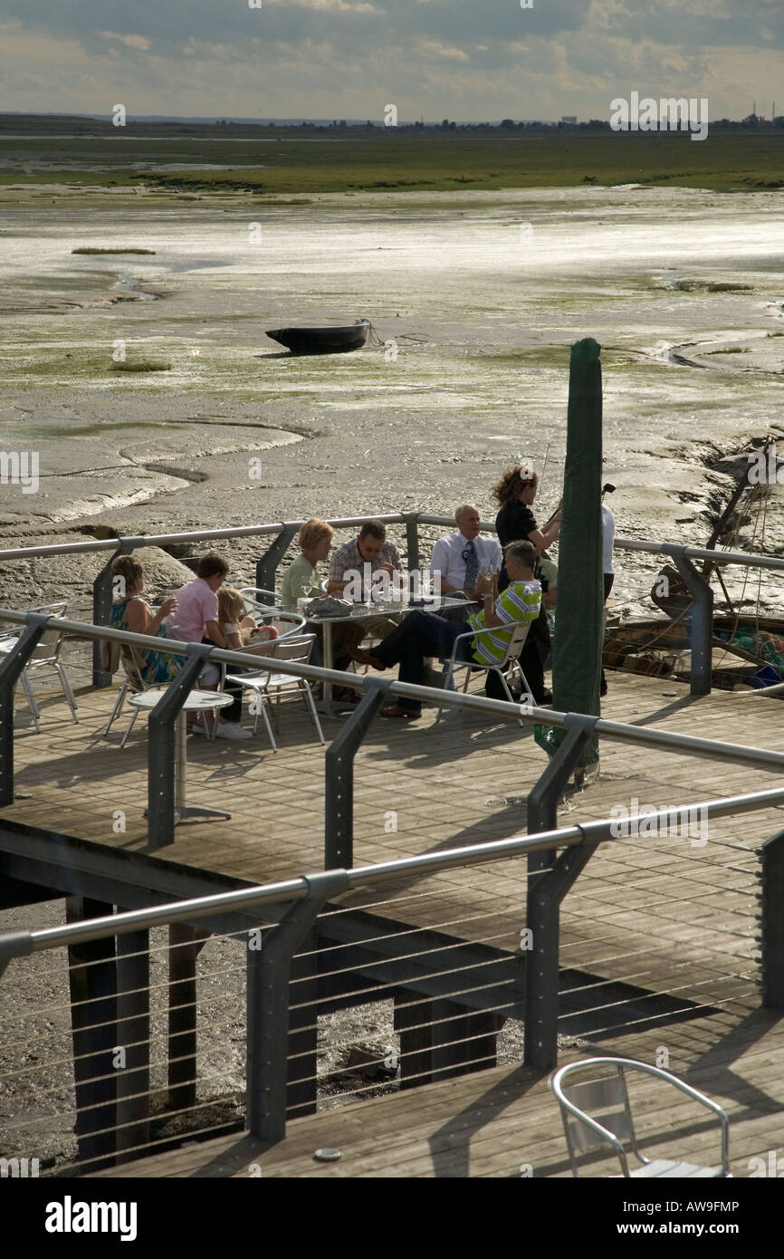 The 'Boatyard' upmarket restaurant overlooking the sea front of the Thames estuary, Lee Leigh on Sea, Essex, - Stock Image