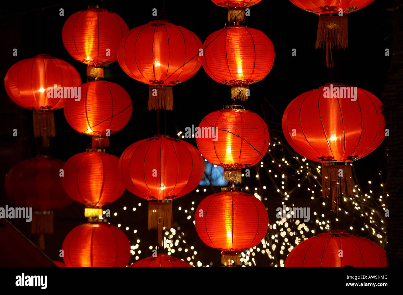 Chinese New Year Red Lantern Festival Celebrations In Shanghai China Asia Night Light Lit Up Decorations