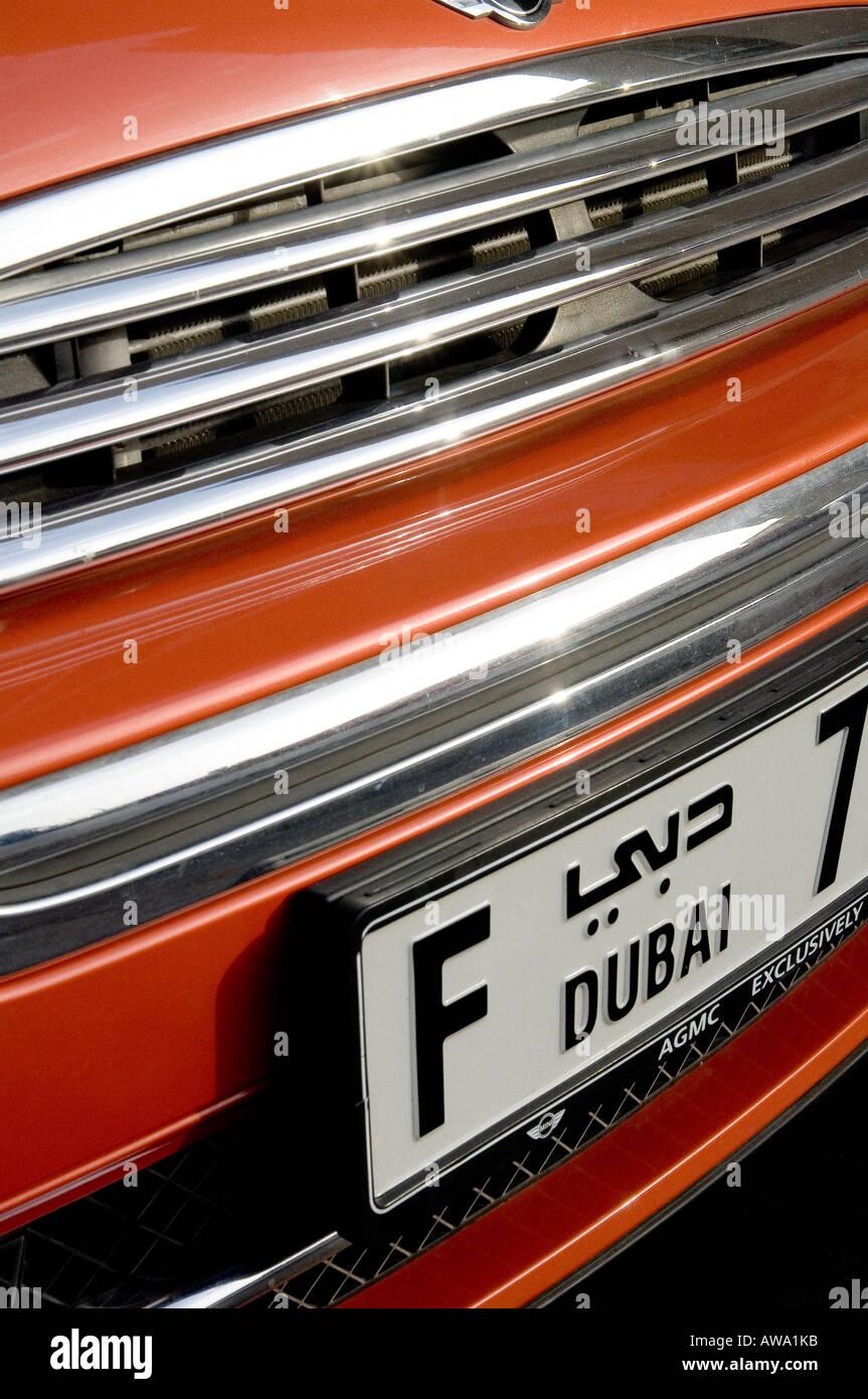 Dubai Number Plate Of A Tomato Red Coloured Mini Car