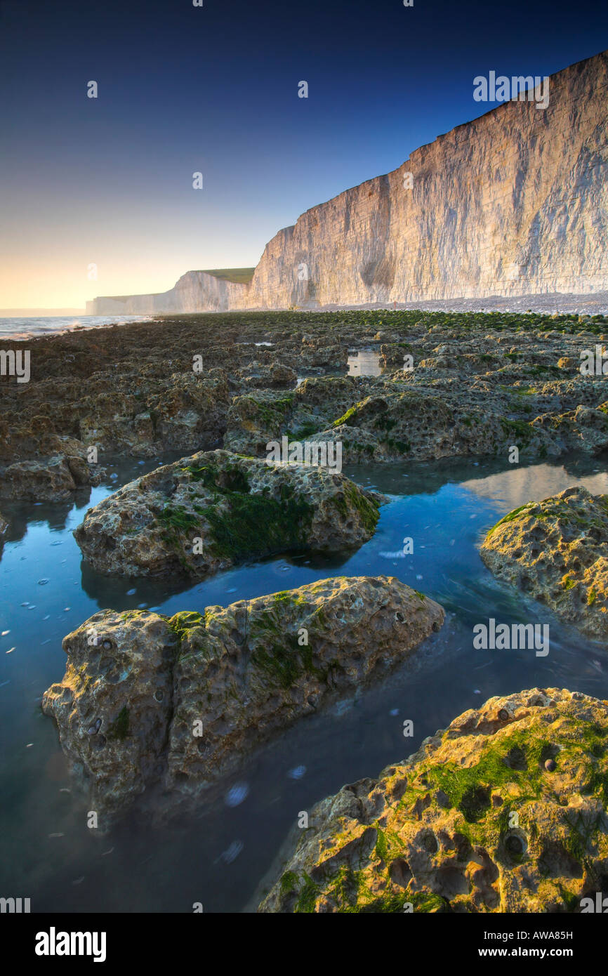 Rockpools below the white chalk cliffs of Birling Gap, West Sussex - Stock Image