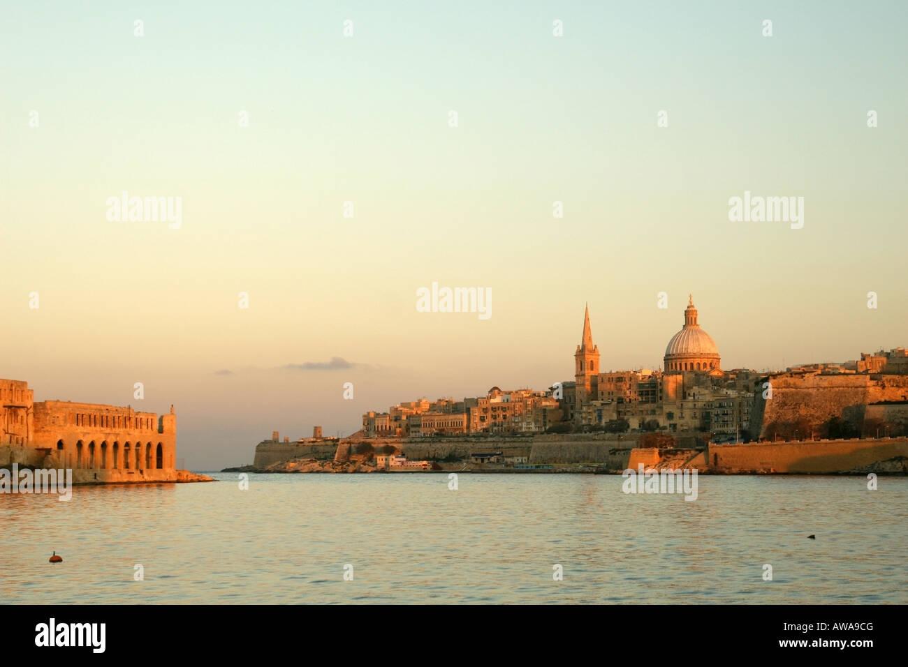 Sunset over Valletta, Malta - Stock Image