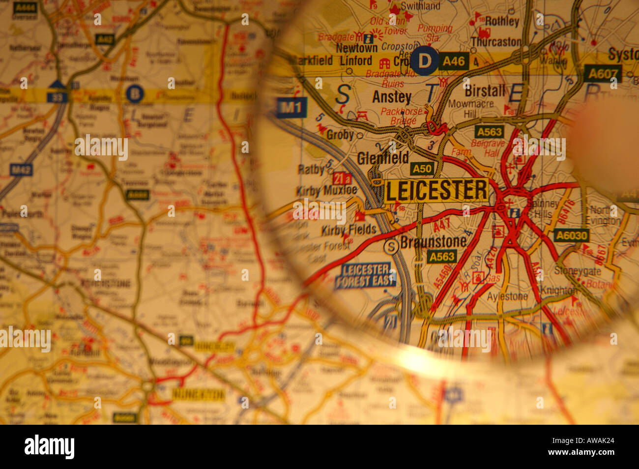 Map Of Leicester England Stock Photos Map Of Leicester England