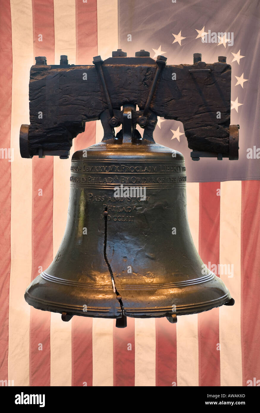 Liberty Bell and American flag with thirteen stars - Stock Image