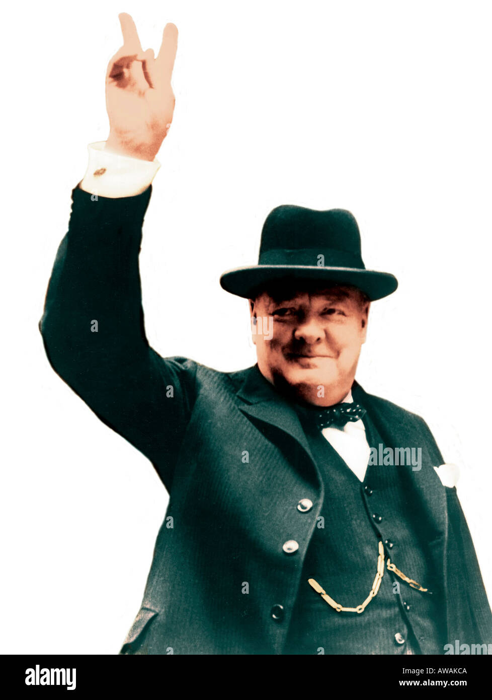 WINSTON CHURCHILL (1874-1965) giving his famous V for Victory sign as British Prime Minister in April1945 - Stock Image