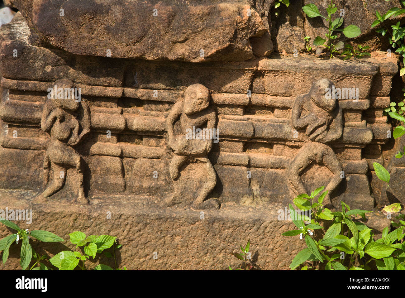 Ancient wall carvings of dancing monkeys reflect the MALAYO POLYNESIAN ARCHITECTURE of the CHIEN DANG RUINS TAM - Stock Image