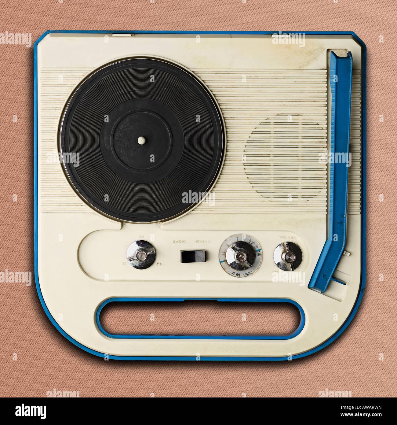 plastic sixties record player - Stock Image