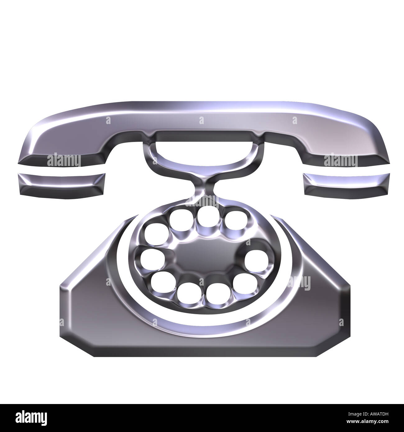 3d silver antique telephone - Stock Image