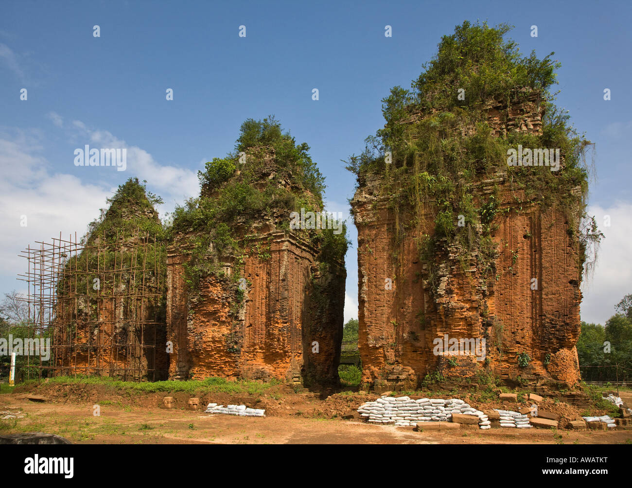 Three ancient CHAM TEMPLES inside the CHIEN DANG RUINS TAM KY VIETNAM - Stock Image