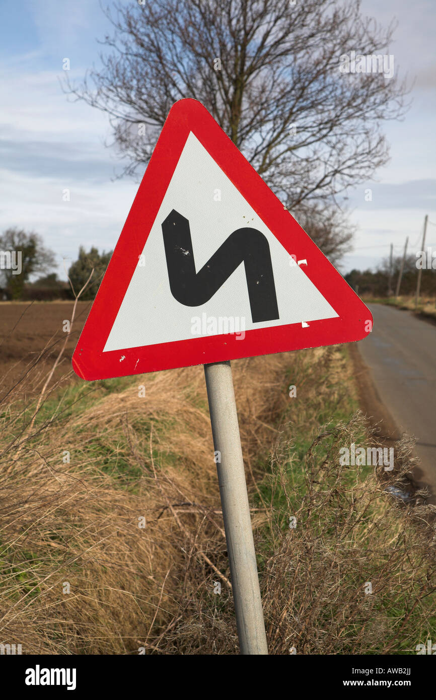 Road sign for bends ahead - Stock Image