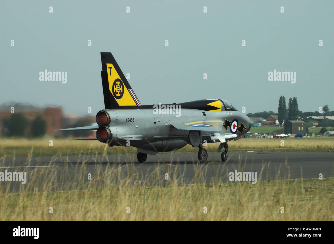 English Electric Lightning T5, full reheat / afterburn on takeoff Stock Photo