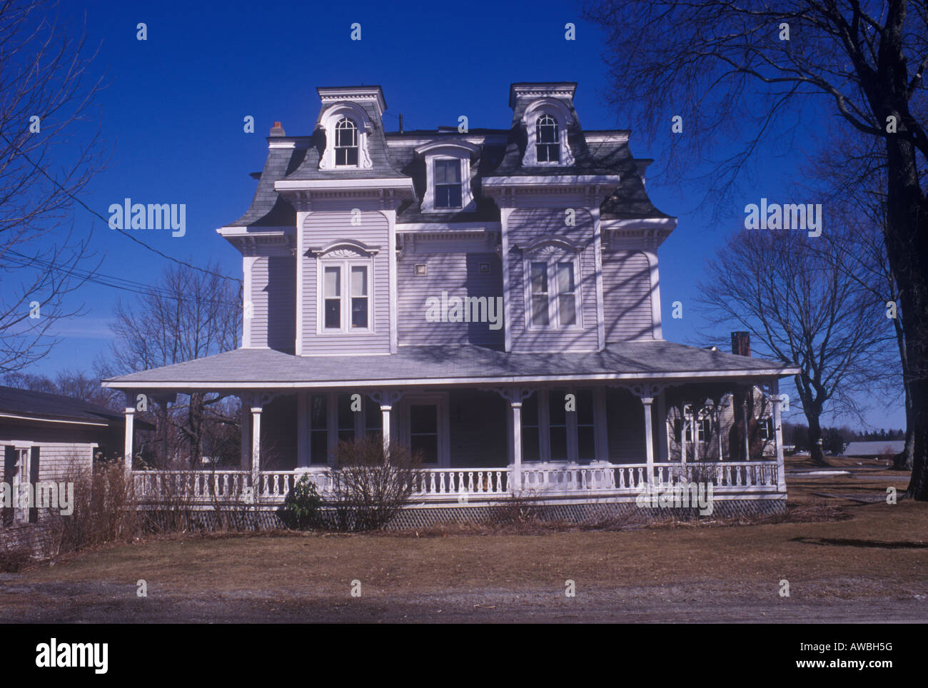 American nineteenth century clapboard house in French Second Empire style at Mount Desert  Maine, circa 1870 - Stock Image
