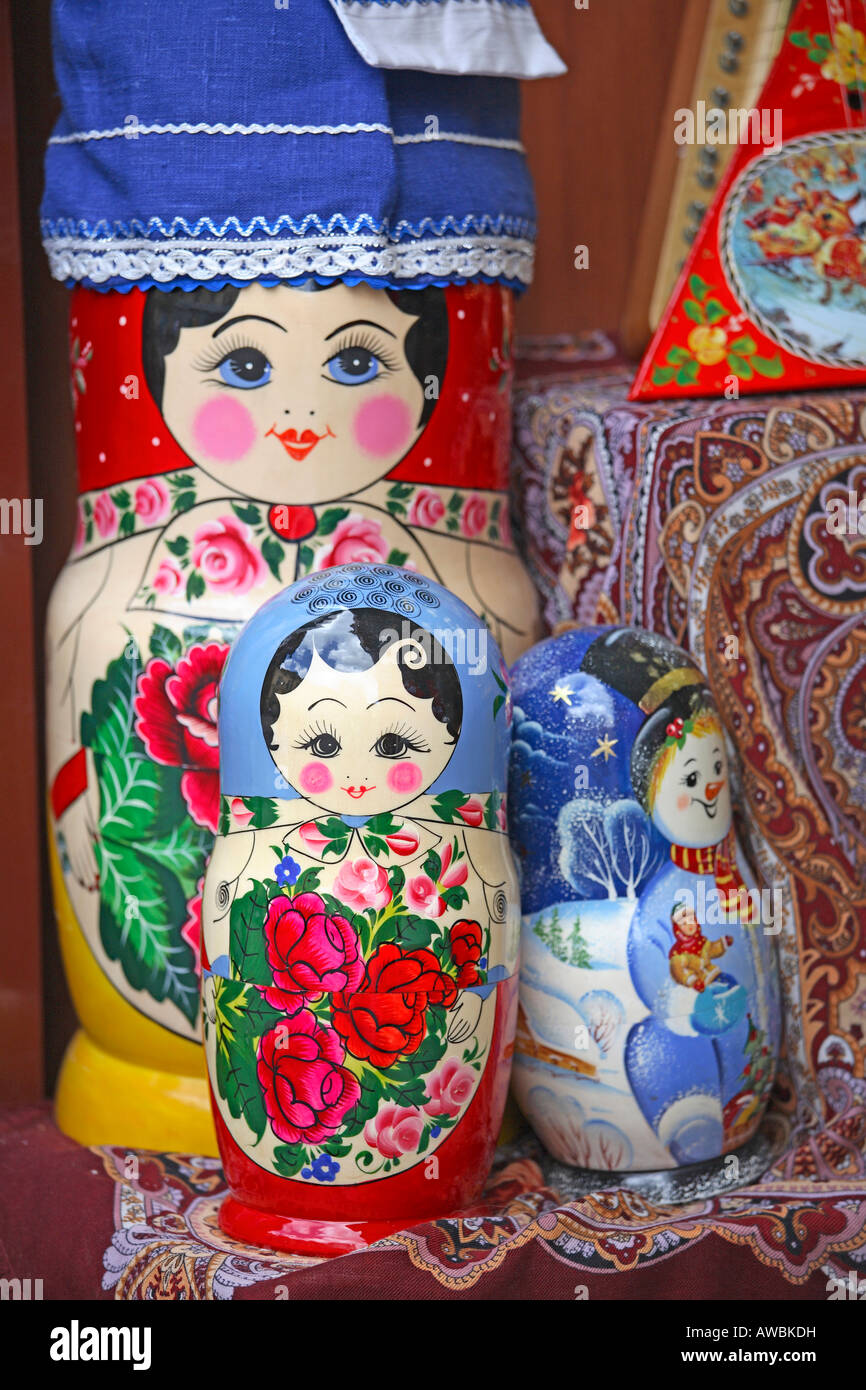 Russia, Moscow, Arbat Street, Traditional Russian Dolls - Stock Image