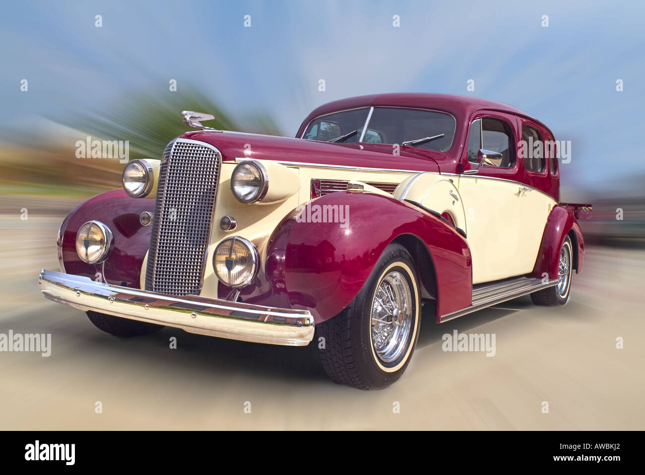 Angle View Of A 1937 Cadillac Automobile In Motion Stock Photo