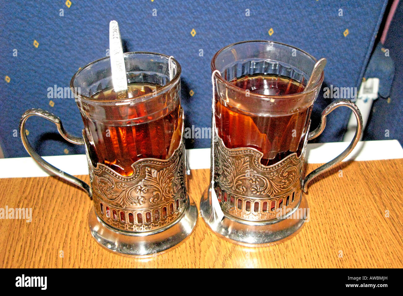 Russia, Decorated Cups For Tea On Train Stock Photo: 16530520 - Alamy