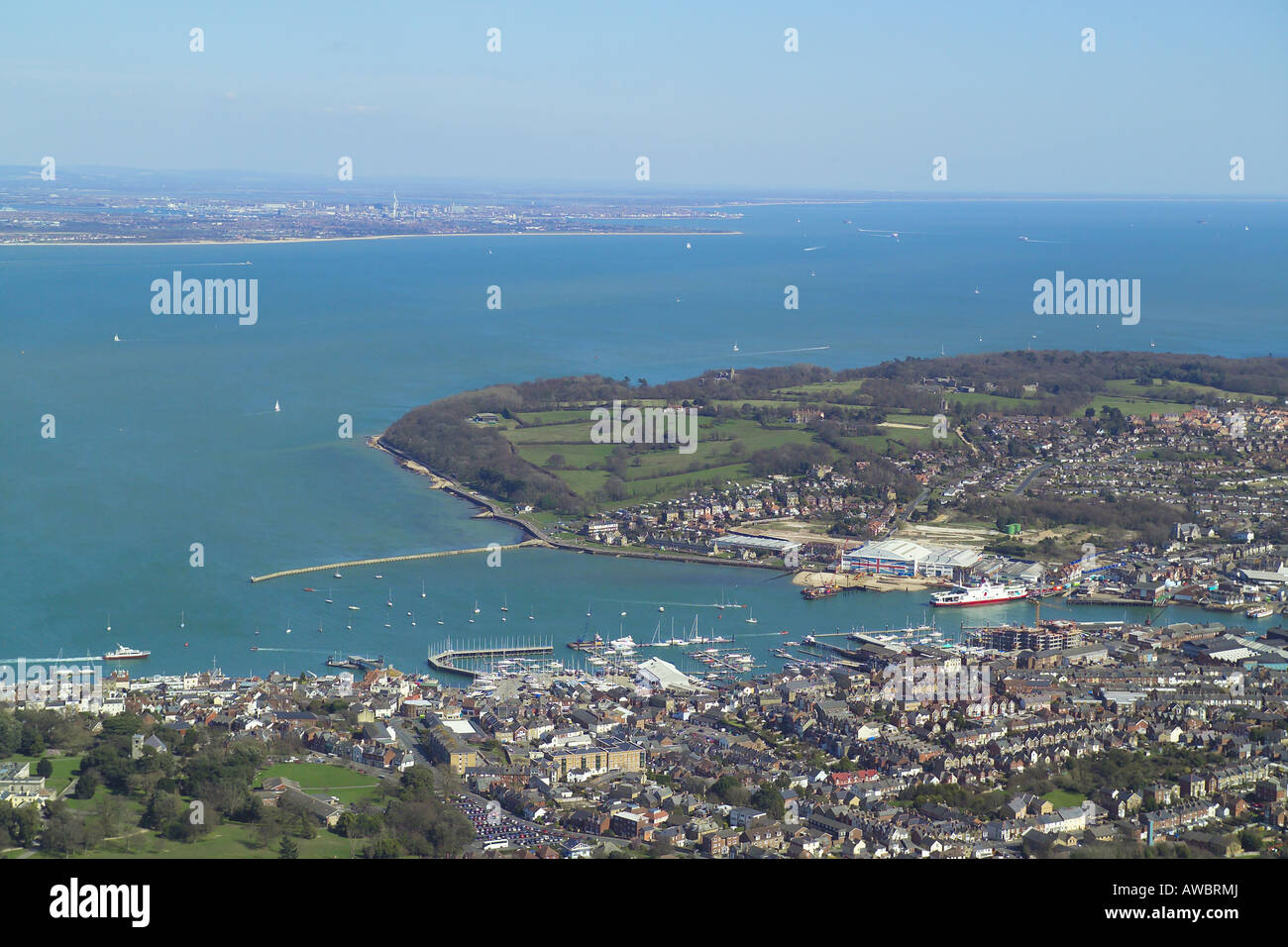 Panoramic aerial view of Cowes and East Cowes on the Isle of Wight featuring the ferry terminal and the boat yards Stock Photo
