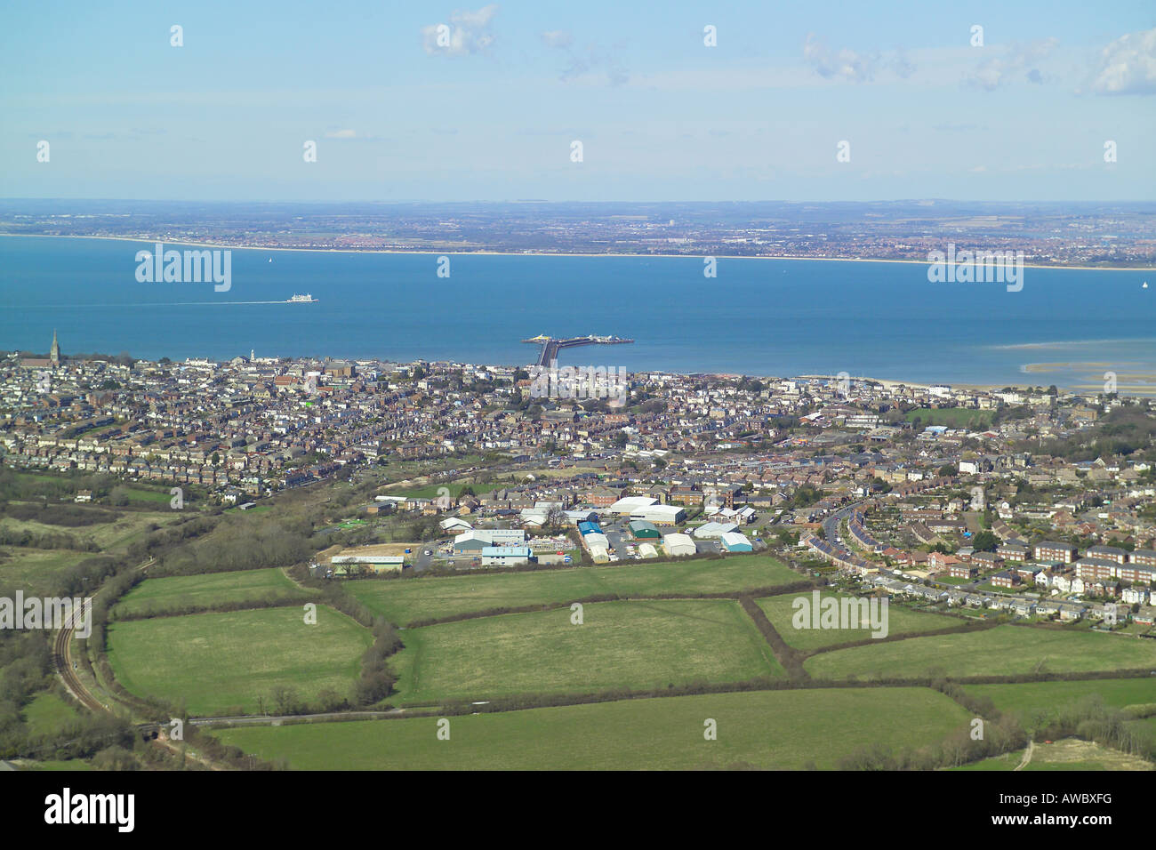 Panoramic aerial view of Ryde on the Isle of Wight with views across the Solent and features the Island Line train Stock Photo