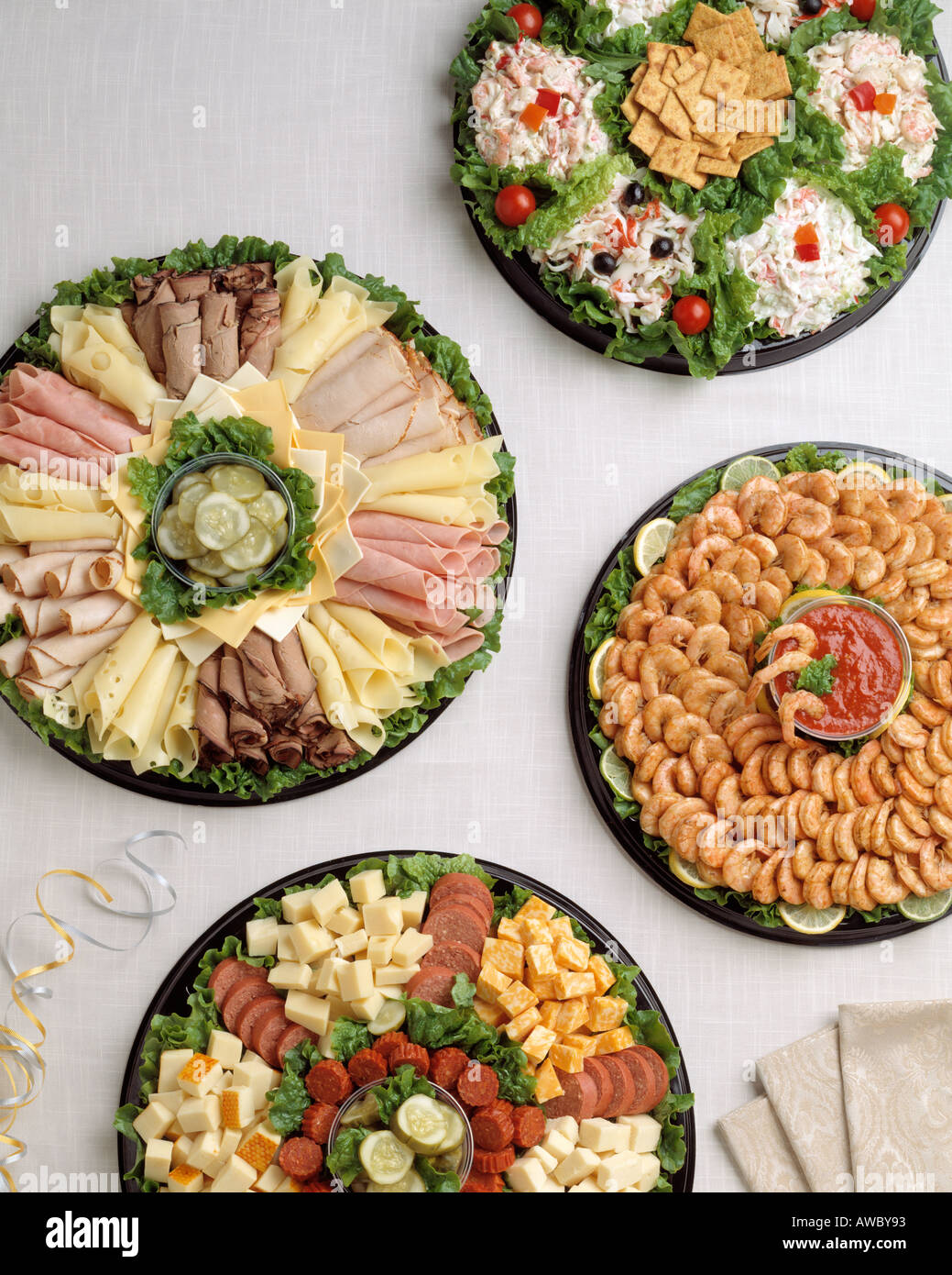 seafood platter meat and cheese tray assortment spiced shrimp cubed cheese ring bologna crab tuna lobster salad Stock Photo
