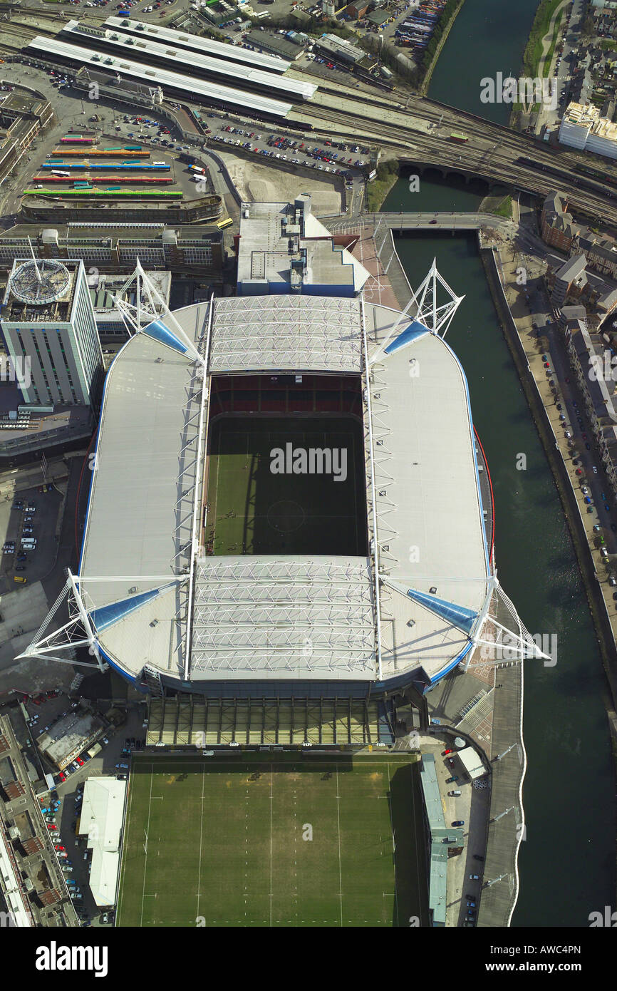 Aerial view of the Millennium Stadium in Cardiff, Wales, home of Welsh Rugby Union and the venue for concerts & Stock Photo