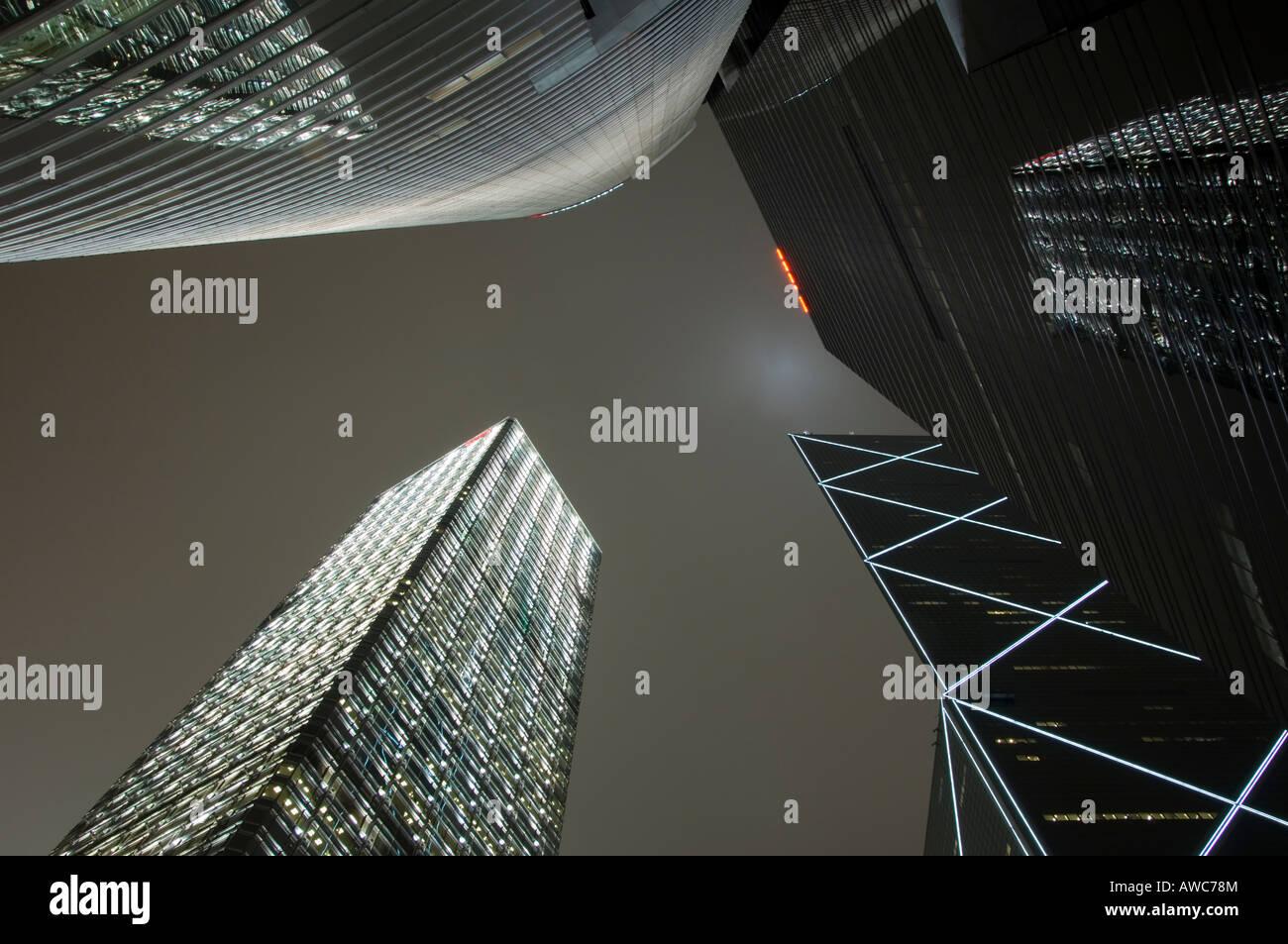 Towering Skyscrapers in Downtown Hong Kong, Hong Kong Island, China, Asia - Stock Image