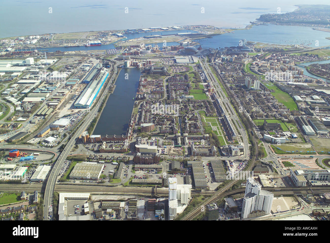 Aerial view of the Atlantic Wharf area of Cardiff Bay in Wales Stock Photo