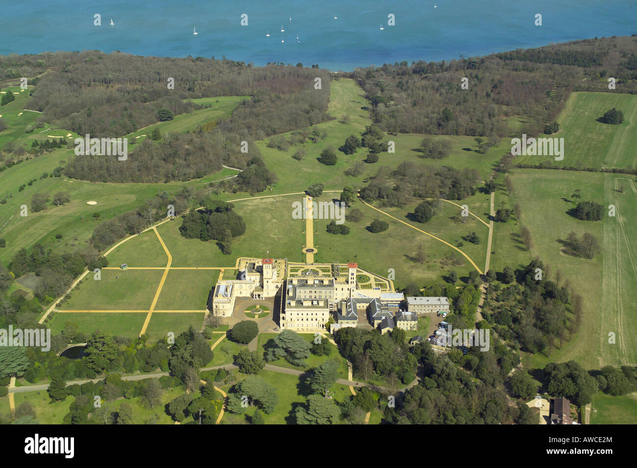 Aerial view of Osborne House on the Isle of Wight, which is the former royal residence of Queen Victoria Stock Photo