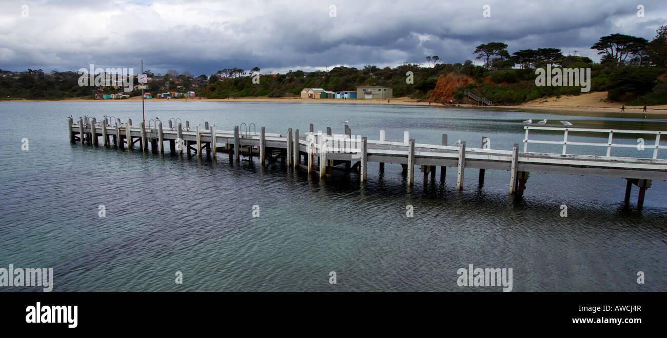 Mornington Jetty and foreshore Victoria Australia. - Stock Image