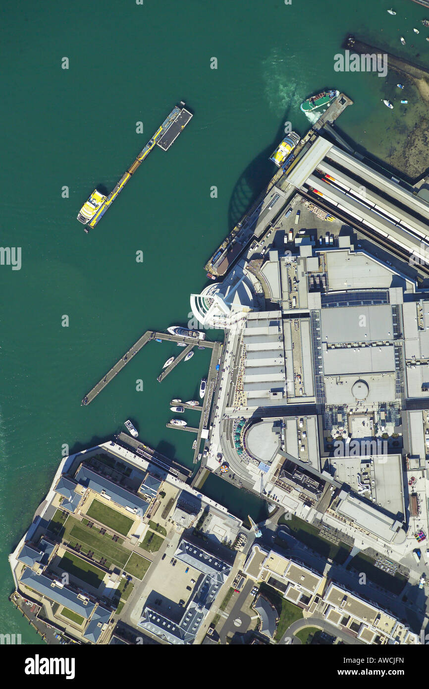 Vertically taken aerial view of the Spinnaker Tower and Gunwharf Quays in Portsmouth Harbour Stock Photo