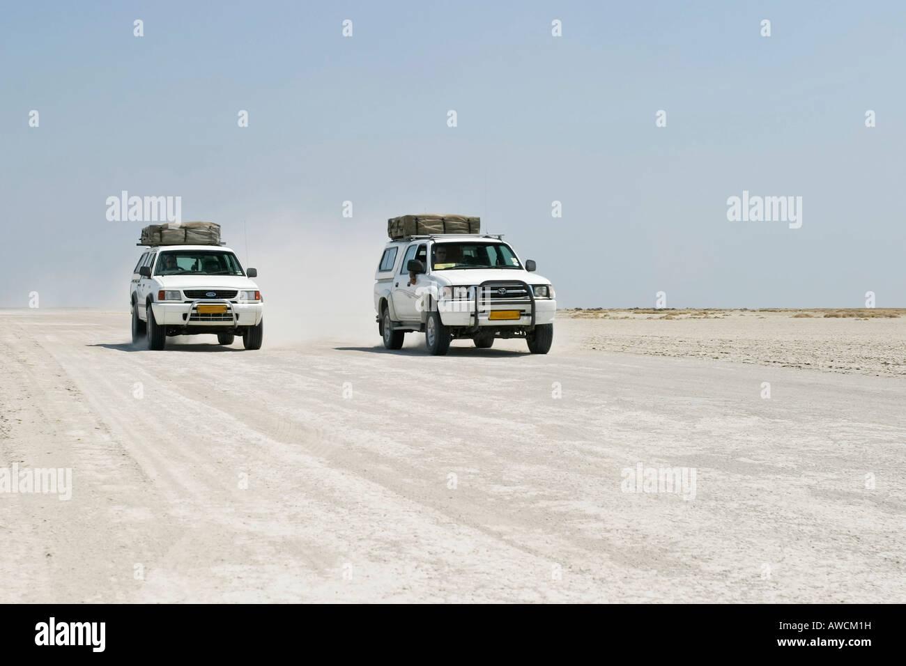 Offroad tour over a big salt pan, Sowa Pan, Makgadikgadi pans, Botswana, Africa Stock Photo