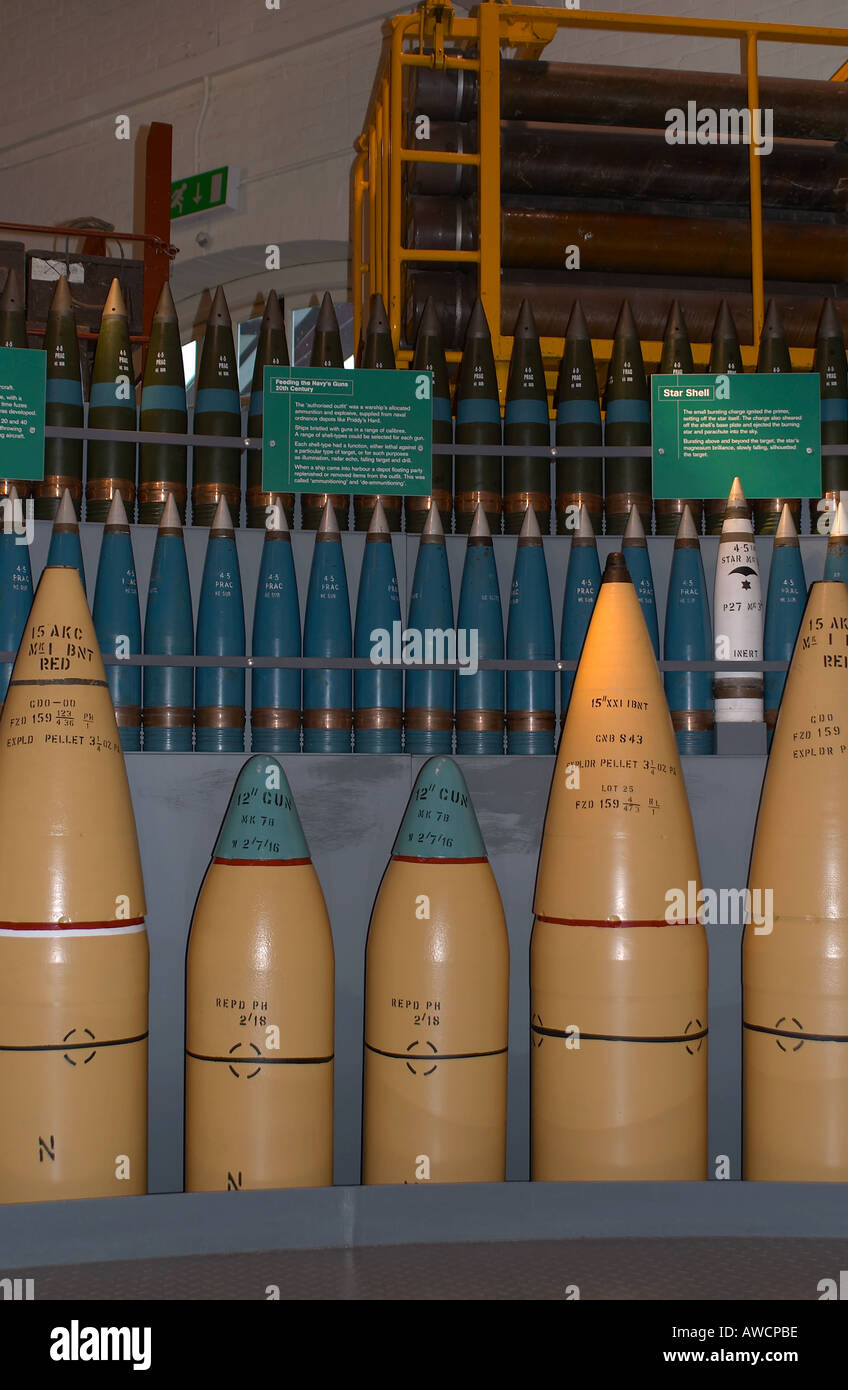 Variety of shells on exhibit at the Museum of Naval Firepower, Hampshire - Stock Image
