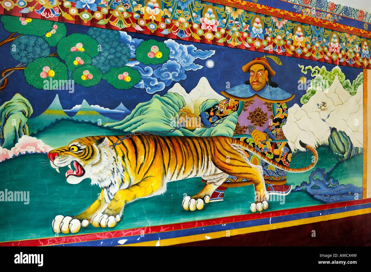 Mural painting, Gyantse, Tibet - Stock Image