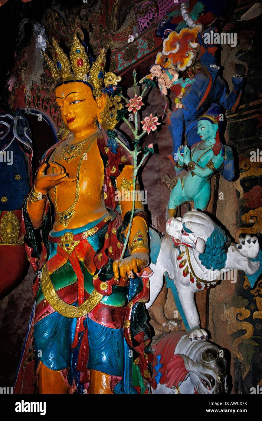 Clay statues, Palcho Monastery or Pelkor Chode Monastery or Shekar Gyantse, Gyantse, Tibet - Stock Image