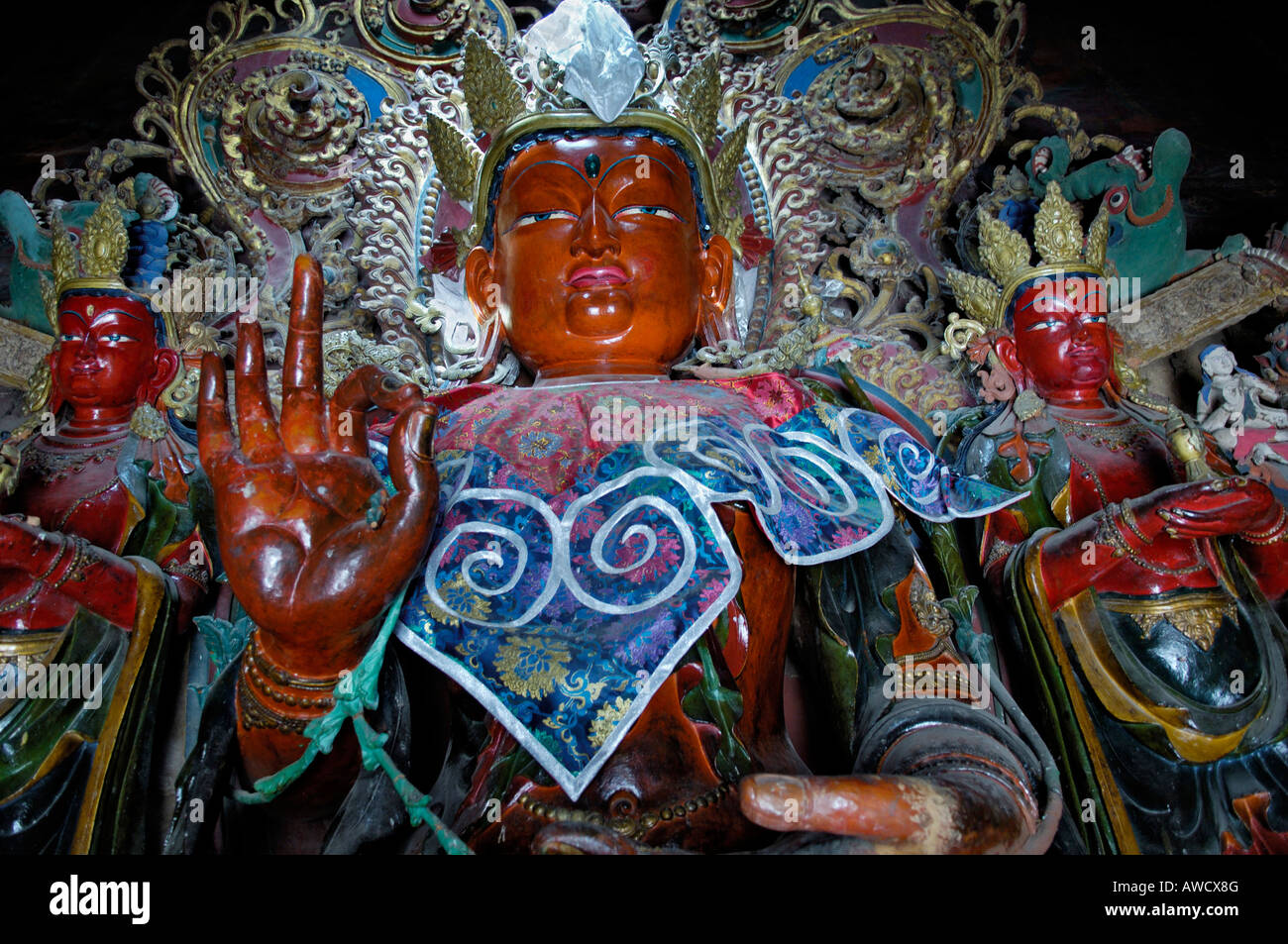 Buddha statue, Palcho Monastery or Pelkor Chode Monastery or Shekar Gyantse, Gyantse, Tibet - Stock Image