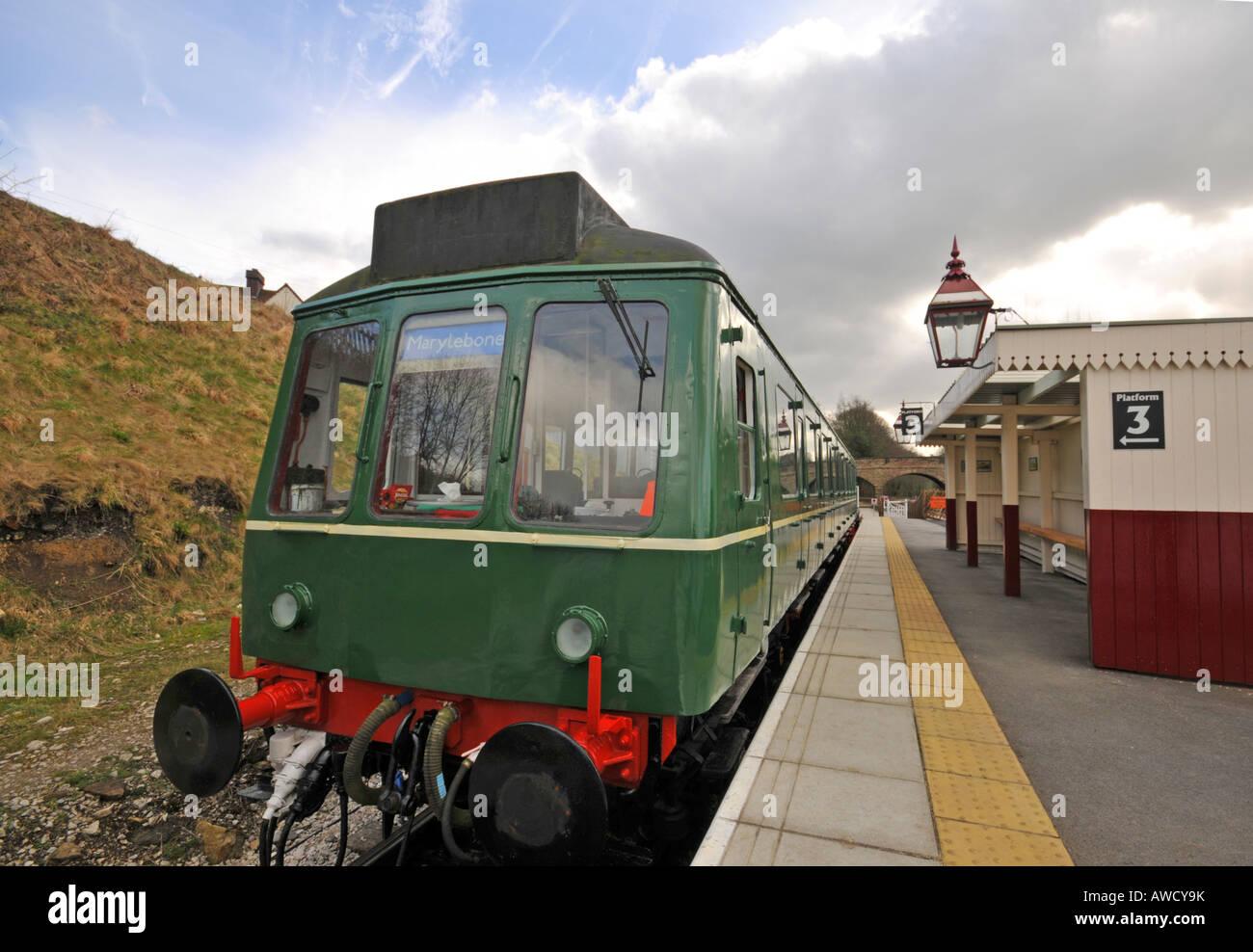 diesel train at Ecclesbourne valley railway in Wirksworth Peak District Derbyshire - Stock Image