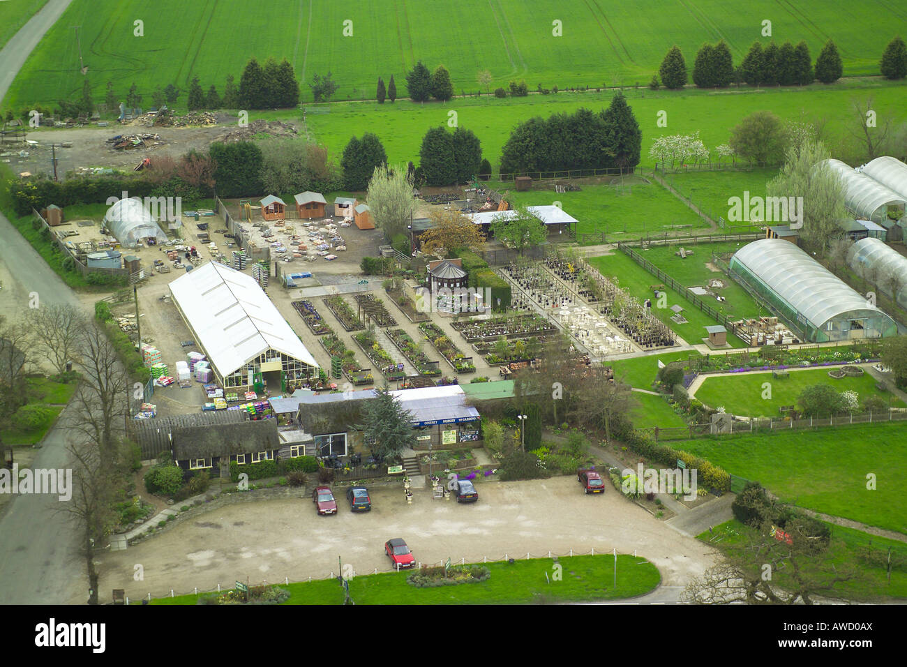 Aerial view of Park Patch Nurseries and Coveney Nursery Garden Centre on the Ongar Road near Abridge in Essex Stock Photo