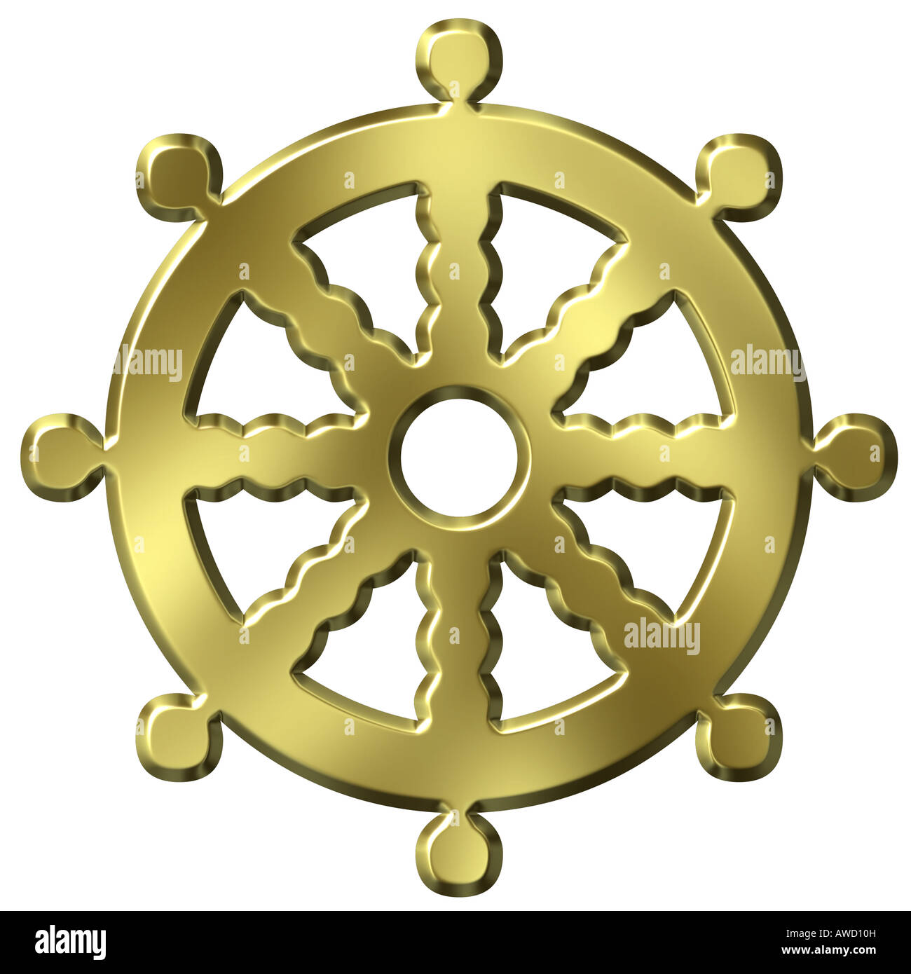 3d golden buddhism symbol wheel of life - Stock Image