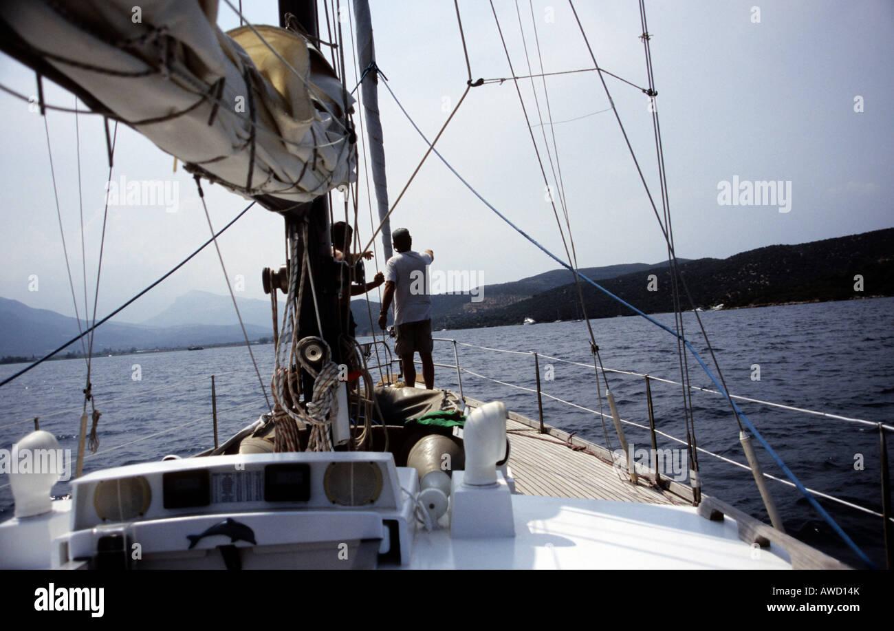 Sailor, sailboat, Greece, Europe - Stock Image